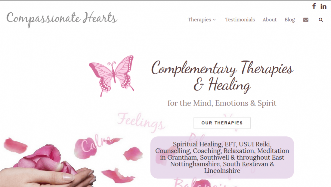 Compassionate Hearts - Complementary Therapists Website Design
