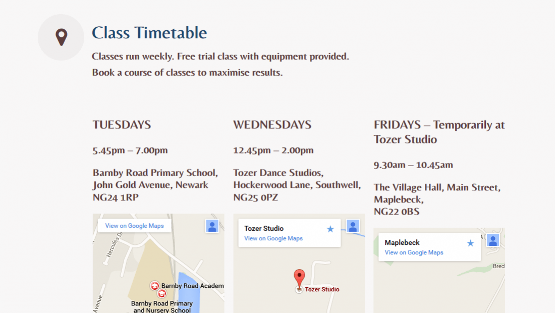 Yoga Website Design - Body Mind Unwind Class Timetable