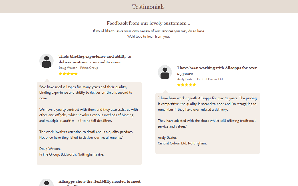 Allsopp Bookbinders Website Testimonials