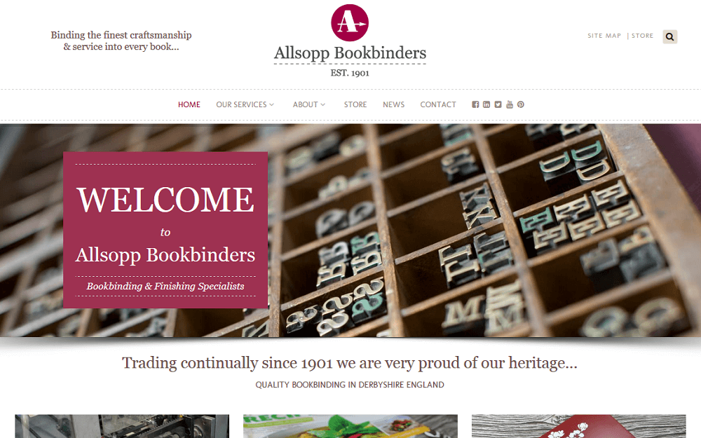Allsopp Bookbinders Website Homepage